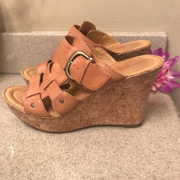 28cf620224ee Born Shoes - BORN Crown Platform Cork Wedge Sandals +